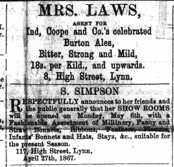 1867 May 4th Mrs LAWS @ No 8