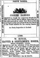 1867 Nov 30th Joseph Barnes @ No 80