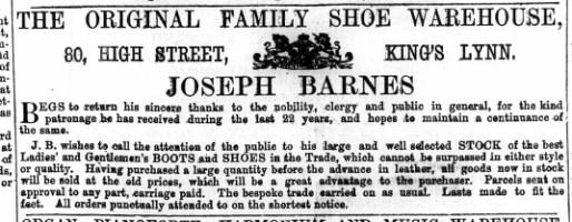 1872 May 4th Joseph Barnes @ No 80