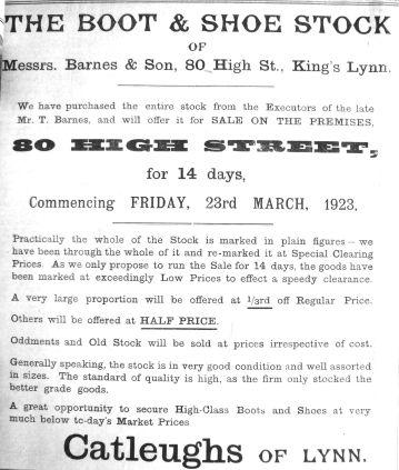 1923 Mar 23rd Catleugh buys Barnes stock @ 80