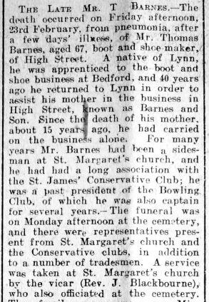 1923 Mar 2nd Mr T Barnes obit