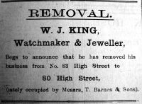 1923 Sept 21st W J King moves to No 80 cont