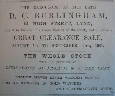 1901 Aug 9th Burlinghams execs sale @ 81