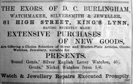 1901 Nov 29th Burlinghams new stock