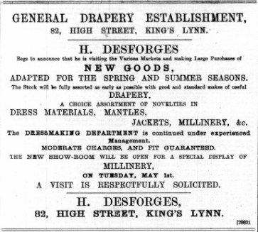 1888 April 28th Headley Desforges @ no 82