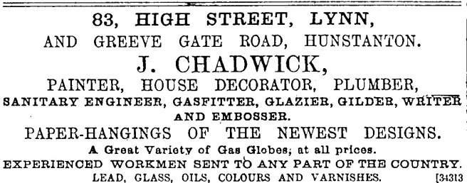 1889 April 13th J Chadwick at No 83