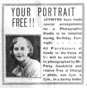 1934 Oct 12th Percy Goodchild portraits for Jermyns 62nd birthday event