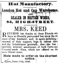 1846 June 13th Mrs Keed