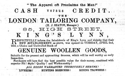 1878 13th April London Tailoring Company