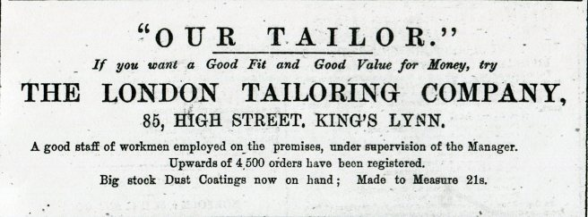 1882 8th July London Tailoring Co @ No 85