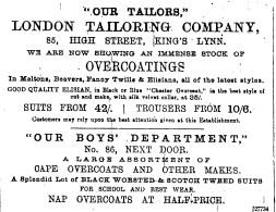 1889 Feb 16th London Tailoring Co @ 85 & 86
