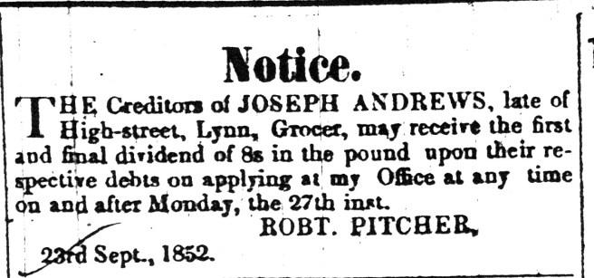 1852 25 Sept Joseph Andrews