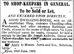 1852 July 3rd House & Shop sale ex Joseph Andrews