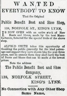 1882 30th Sept Public Benefit Boot Co @ Norfolk street