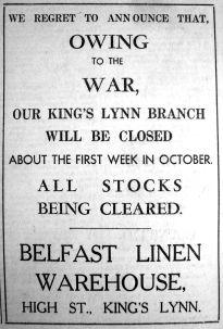 1940 Sept 20th Belfast Linen closes for war