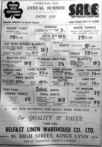 1952 June 27th Belfast Linen