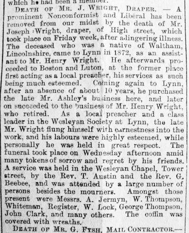 1890 March 1st Obit Joseph Wright