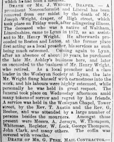 1890 March 1st Obit Joseph Wright