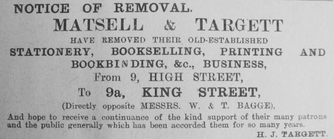 1911 Jan 6th Matsell & Targett move out