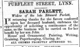 1874 Jan 10th Sarah Parlett ex Edward @ No 95