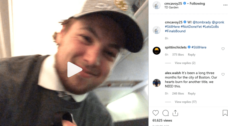 Charlie McAvoy And The Bruins Channel Tom Brady & Gronk In An Epic Video Following Last Night's Win