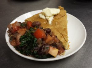 Chili Beans with Kale and Skillet Cornbread