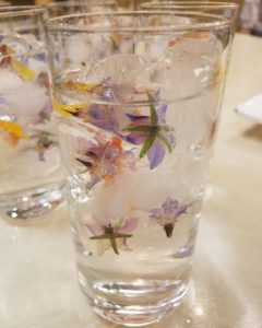 Floral Ice Cubes at Chef Christy's Herbal Drinks and Snacks class