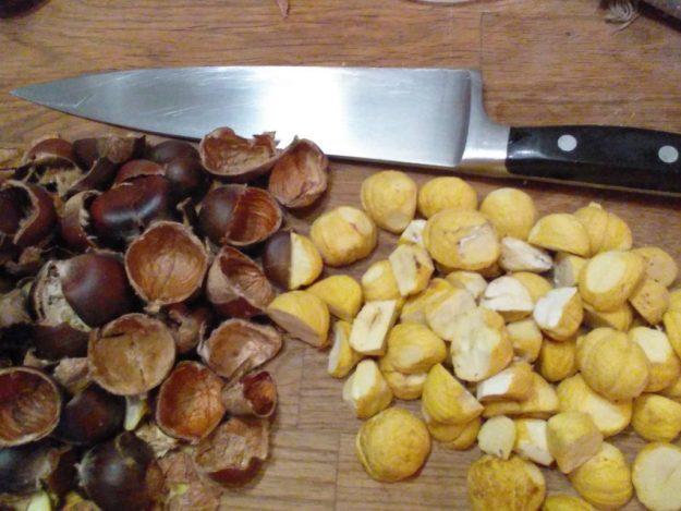 Raw Chestnuts cut open