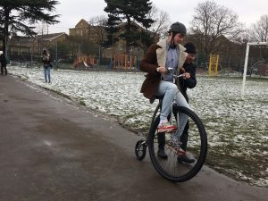 Surbiton residents braved the chilling March temperatures to ride on the oldest high-wheelers