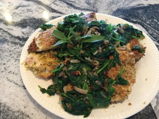 Almond Crusted Chicken with Fresh Spinach
