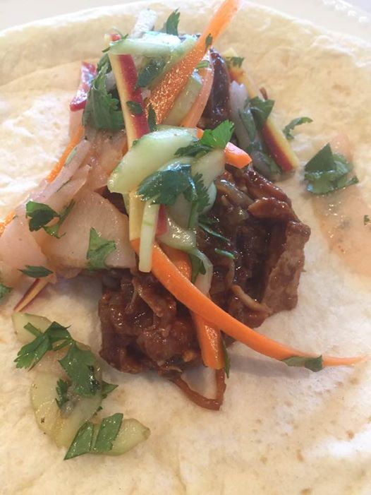 Asian Style pulled Pork Tacos with Pear & Cucumber Slaw