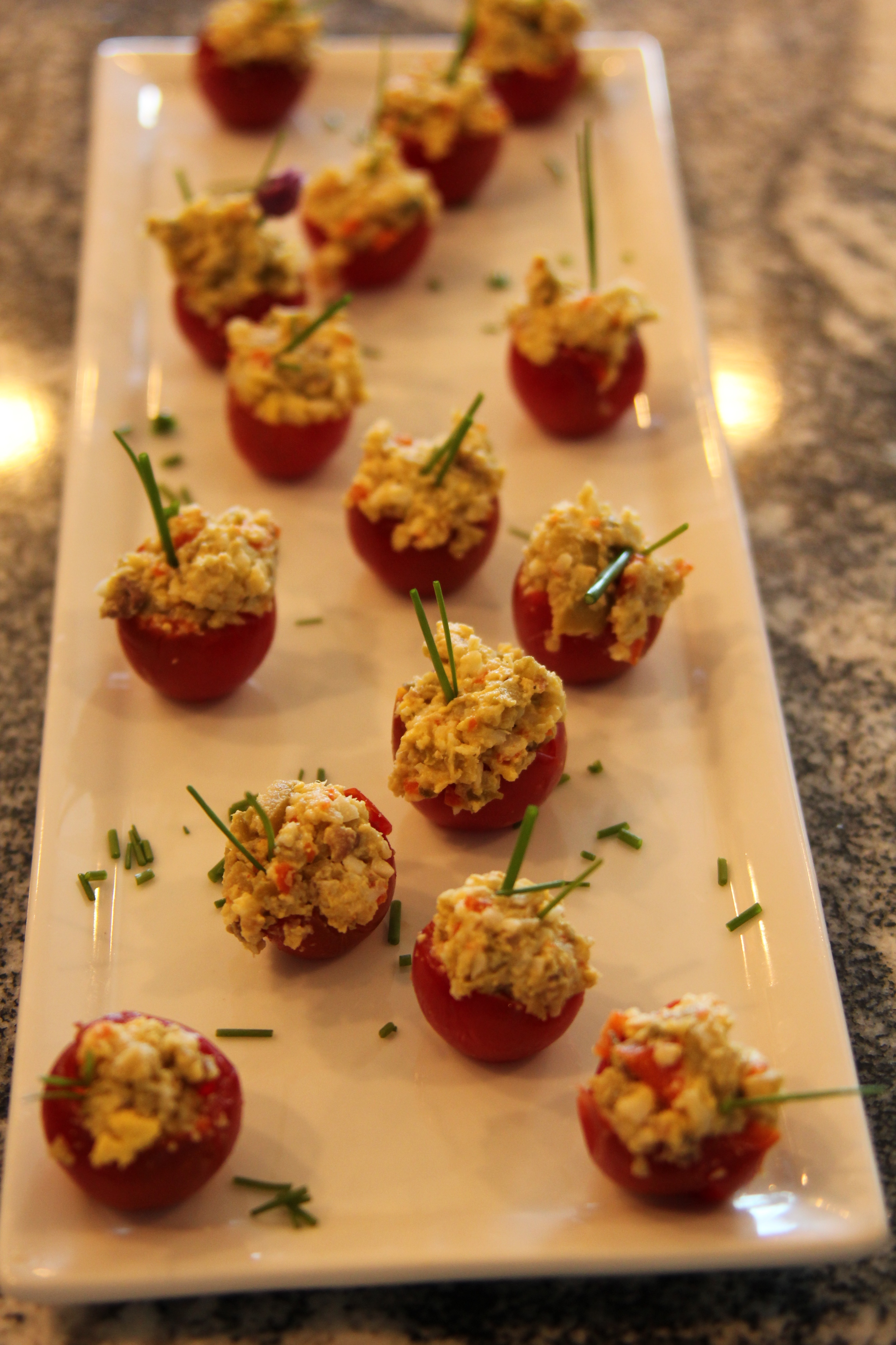 Stuffed Cherry tomatoes with Anchovy & Olive filling