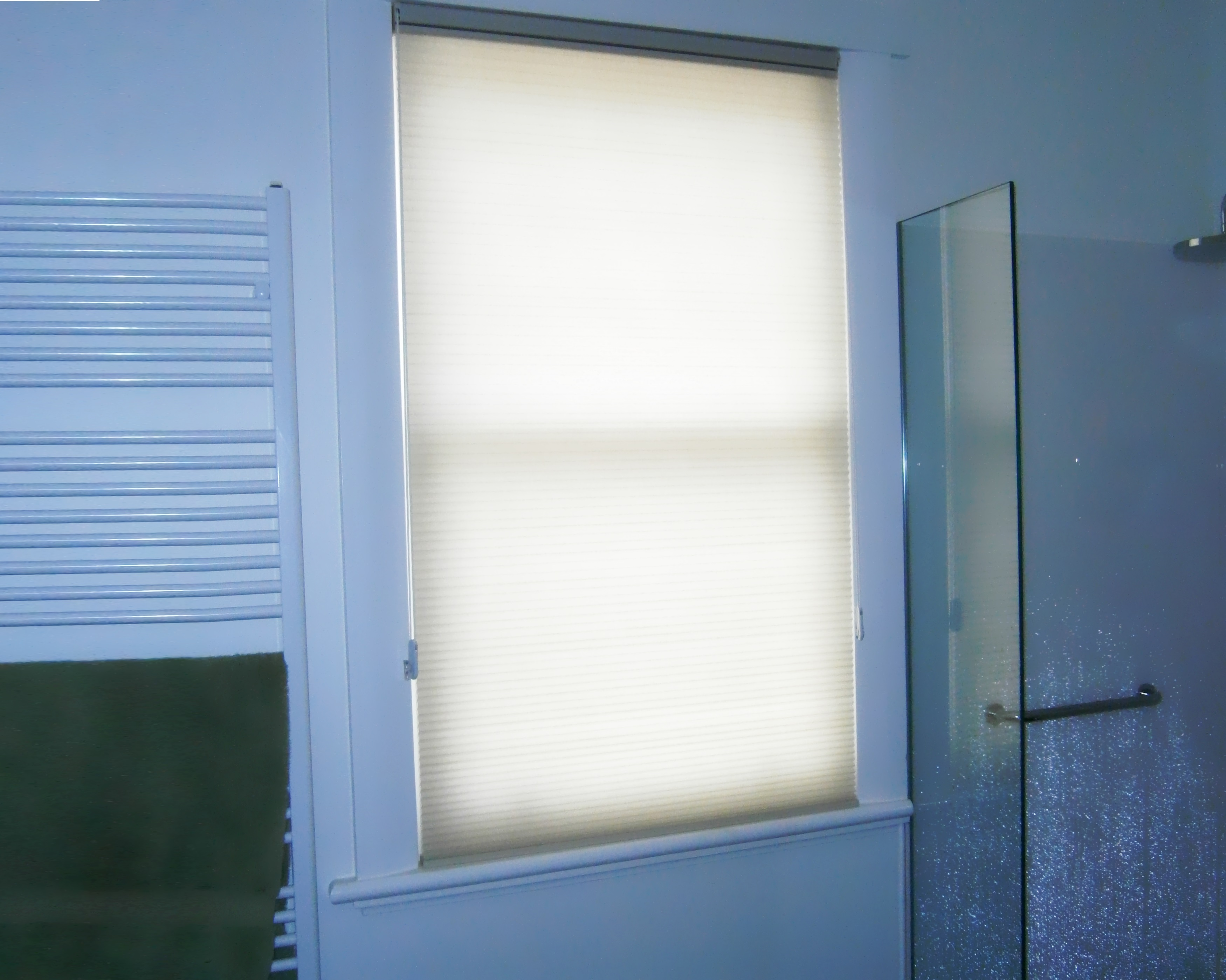 honeycomb blinds in a bathroom