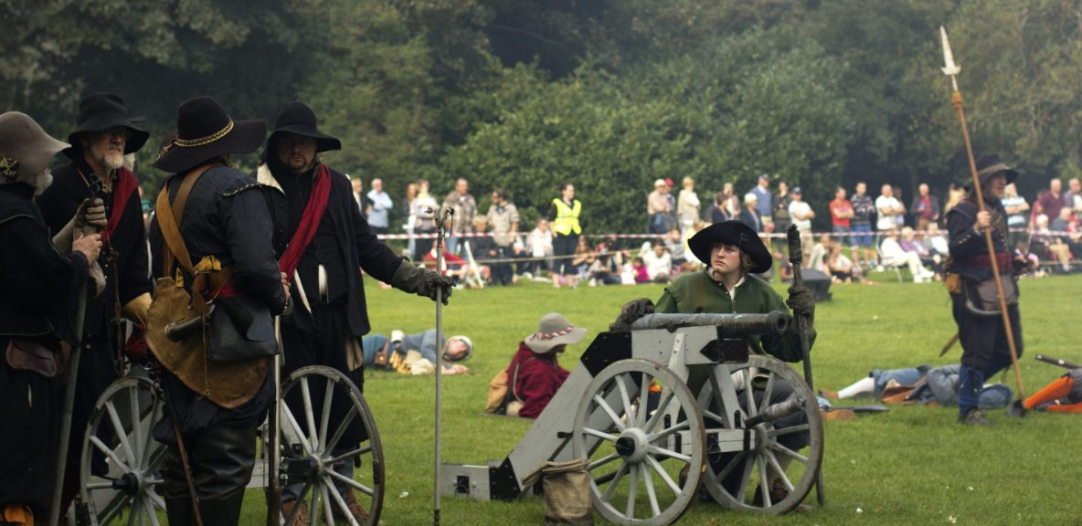 English Civil War Cannon ready to be fired reenactment
