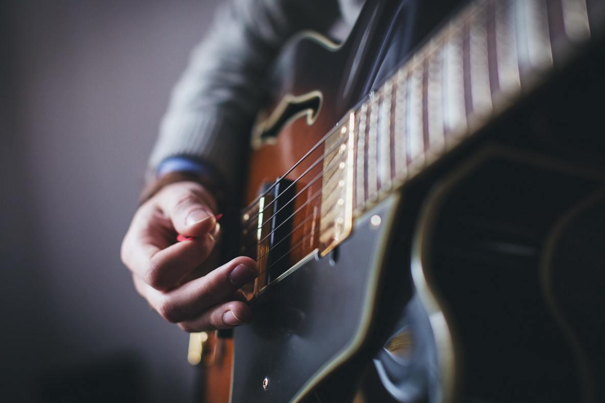 close up guitar playing