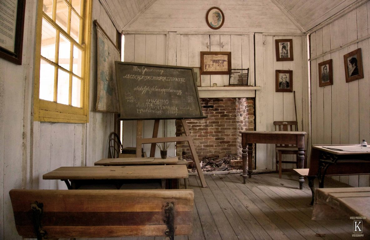 old fashioned empty school room