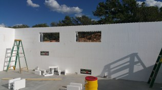 South wall with openings for awning windows