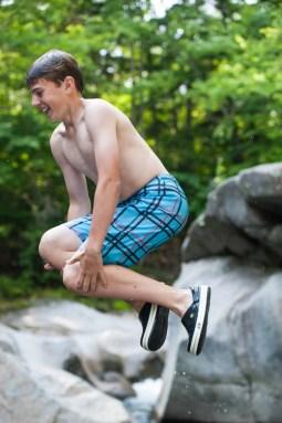 jump rock river water boys summer camp