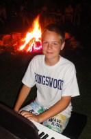 Piano at campfire