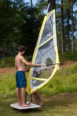 Learning the windsurfing basics on land