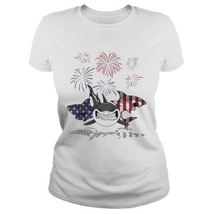 Shark firework american flag independence day  Classic Ladies