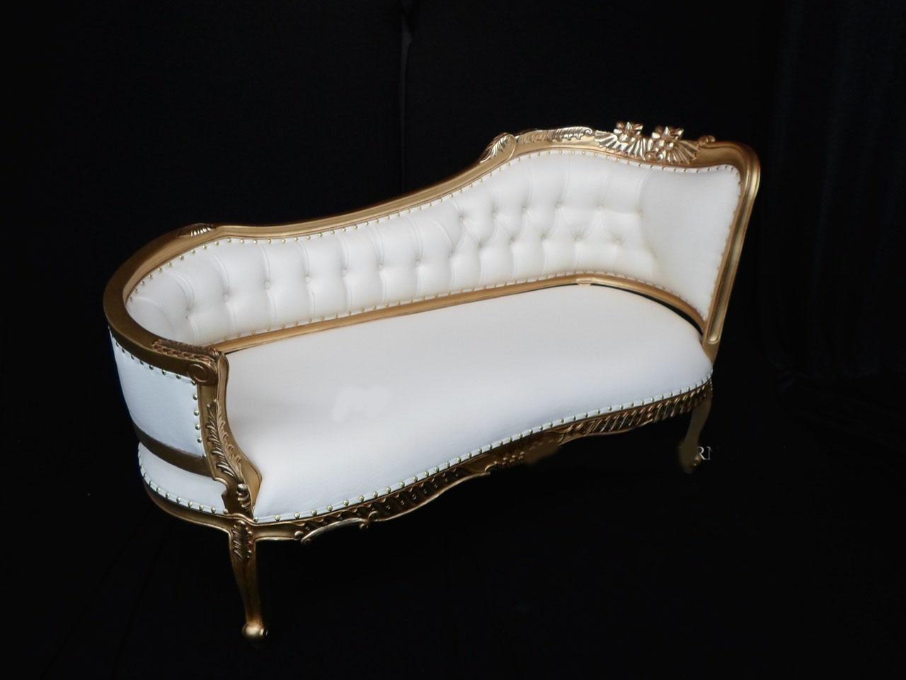 goldandwhitefrenchchaise  King Queen Throne Chairs