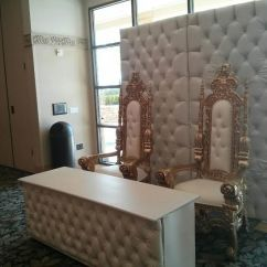 King And Queen Chairs For Rent Chair Covers Essex Gold Throne With Table Backdrop