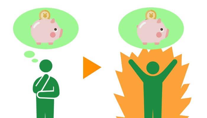 貯金の意識が違う人のイラスト
