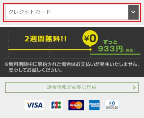 スマホ版Hulu登録手順3:お支払い方法を選択