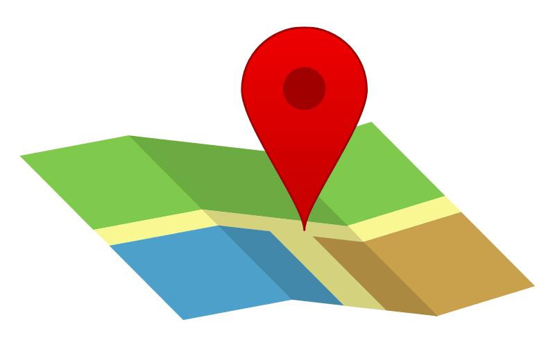 地図の目的地を示すイラスト