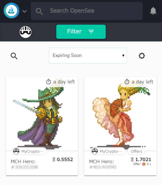 OpenSeaで販売中のマイクリプトヒーローズのキャラ