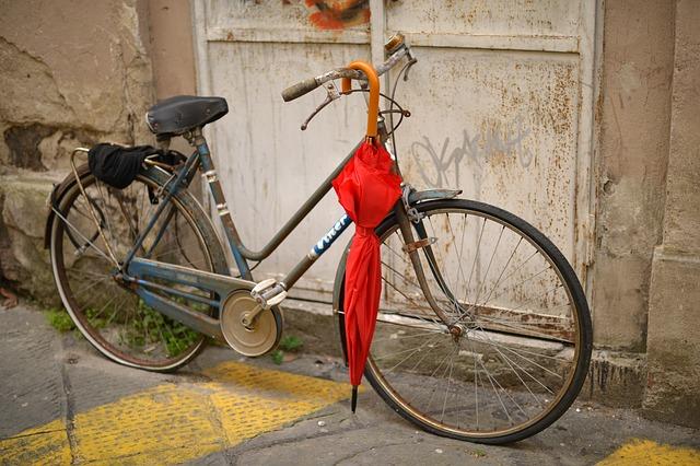 自転車の傘さし