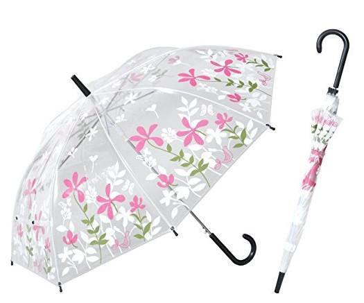 かわいいビニール傘 花柄