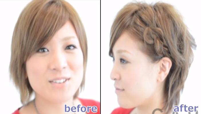 浴衣 髪型 ショート ヘアアレンジ1